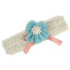 B3 Baby Toddler Girl Lace Flower Bow Hair Clip Pin Band Headband (Blue)