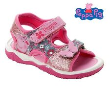 GIRLS PEPPA PIG PINK GLITTER FLAT BEACH SPORTS CASUAL SUMMER SANDALS SIZE 5-10