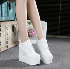 Womens New Hidden Wedge High Heels Platform Lace Up Pump Casual Creepers Shoes