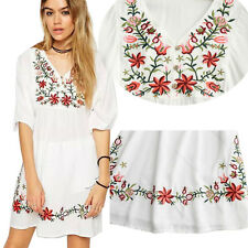 Women Mexican Ethnic Embroidered Floral Gypsy Loose Blouse Boho Mini Dress