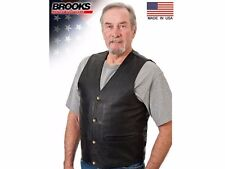 Men Leather Motorcycle Vest Cowhide Brooks Leather USA BUFFALO NICKEL VEST