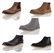 MENS CHELSEA CASUAL SMART WORK FAUX SUEDE BROGUE ANKLE SLIP ON BOOTS SHOES SIZE
