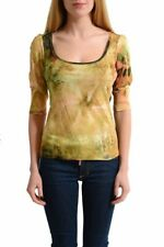 Galliano Women's Multi-Color Floral 3/4 Sleeves Blouse Top Sz M L