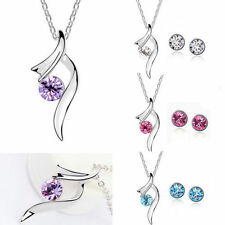 18k White Gold Crystal Cancer Ribbon Support Pendant Necklace Chain Earring Set