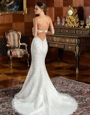 Bling Strapless  Long Formal Mermaid Lace Wedding Dress