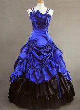 Sapphire Blue Ruffled Satin Royal Classic Lolita Dress 428 Vintage Custom made