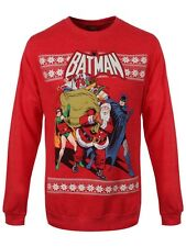 Batman DC Comics Santa & Robin Crewneck Sweatshirt Men's Red Sweater