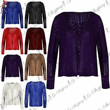 Womens Crochet Hollow Knit Cardigan Ladies Knitwear 3/4 Sleeves Shrug Festival