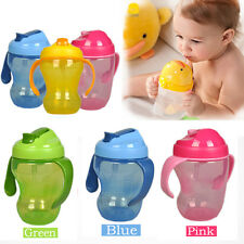 2016 260ml Baby Cup Infant Learn Drinking Straw Handle Bottle Sippy Cup BPA Free