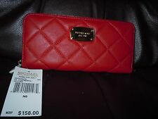 NWT Michael Kors Hamilton Quilt Red Leather Continental Wallet MK Gold Tone