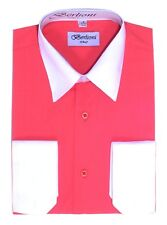 Berlioni Italy Men's Italian French Convertible Cuff Two Tone Dress Shirt Coral