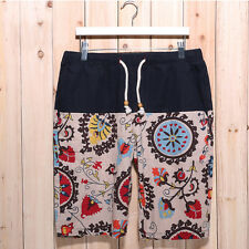 Summer Beach Shorts Men Swim Short Pants Cotton Linen Ethnic Style Board Shorts