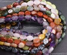 Wholesale Natural Gemstone Oval Loose Beads Strand 8mm 10mm 14mm  Pick Stone 16""