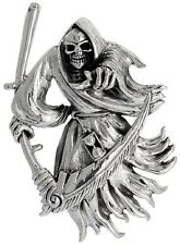".925 Sterling Silver Large Grim Reaper Religious Pendant 18"" Box Chain"