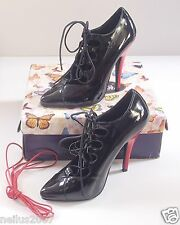 "Ladies Boxed Pleaser Black Red Seduce 454 4.5"" High Heel Stilettos Shoes Size 2"