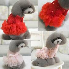 Pet Dog Puppy Turtleneck Princess Dress Tulle Bowknot Skirt Apparel Clothes S-XL