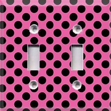 Black Polka Dots On Pink~ Light Switch Plate Cover ~ Home Decor
