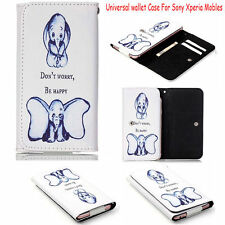 Elephant Patterns Wallet PU Leather Flip Card Case Cover  For Sony Mobile Phones