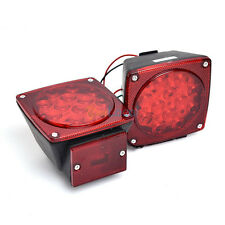 "Red LED Submersible SQ Trailer Lights Kit Under 80"" Stop License Tail Brake USA"