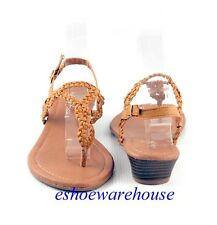 Cognac Mid Tan Cutie Braided Loop Strap Sling Back Comfy Low Wedge Sandals Shoes