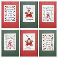 6 Christmas Card Packs 2 different designs 1 with Beads Cross Stitch Kit⭐️14 Ct
