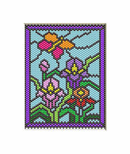 BUTTERFLY AMONG IRIS BLOOMS~LARGE PONY BEAD BANNER PATTERN ONLY
