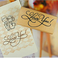 Wooden Rectangle Stamp Seal Rubber Craft  Scrapbooking Thank You Love Wedding CN