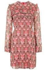 Topshop Floral Print Ruffle Dress Hot Pink Victorian Edwardian Vintage Mini 70s