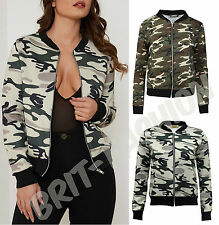 Womens Ladies Summer MA1 CAMO BOMBER JACKET Classic Zip Up Retro Biker Coat