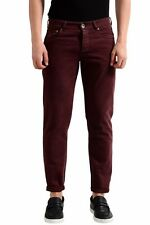 Brunello Cucinelli Men's Burgundy Slim Fit  Jeans Size 30 32 34 36