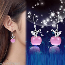1 Pair Fashion Opal Cat Eye Apple Earring Silver Plated Jewelry Pink/White