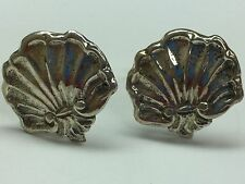 Vintage 925 Sterling Silver Shell Cuff Links