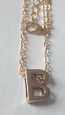 """LETTER """"B"""" ALPHABET INITIAL LETTER  GOLD PLATED CHAIN PENDANT NECKLACE"""