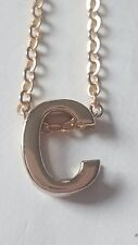 """LETTER """"C"""" ALPHABET INITIAL LETTER  GOLD PLATED CHAIN PENDANT NECKLACE"""