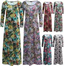 New Womens Multi Floral Prints Scoop Neck 3/4 Sleeve Flare Swing Maxi Dress 4-22