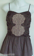 NEW~NEXT~MINK BUSTIER TOP 14 PETITE CREAM LACE FRILLED COTTON LINED