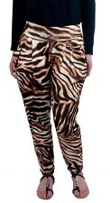 Ladies Summer Trousers Lightweight Loose Fitting Soft Animal Print Pants