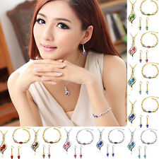 NWT 18 KGP Austrian Crystal Rhinestone Necklace Earrings Bracelet Set You Pick
