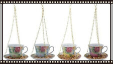 Floral Vintage Style Hanging Tea Cup And Saucer Bird Feeder