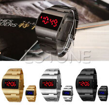 Fashion Men's Iron Military Digital Display Mirror Red/Blue LED Watches