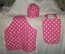 Pink and White Polka Dot Design Apron, Chef Hat or Tote bag Homemade