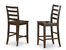 FAIRWINDS COUNTER HEIGHT DINING CHAIR BAR PUB STOOL IN CAPPUCCINO SET OF 2