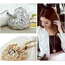 Beauty Graceful Hollow-out LoveHeart Leaf Pendant Crystal Necklace Sweater Chain