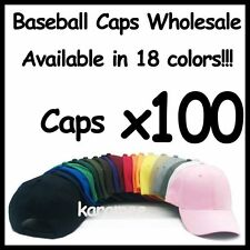 WHOLESALE LOT 100 Plain Blank Baseball Caps Adjustable Velcro Back 100 HATS