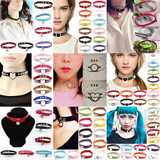 High Womens Punk Gothic Chain PU Leather Heart Love Charm Collar Choker Necklace
