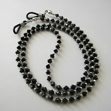 Jet Black Swarovski Crystal Eyeglass Holder Glasses Specs Cord Strap Chain Leash