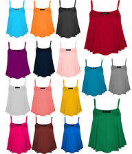 New Women's Plain Swing Vest Flared Sleeveless Top Strappy Cami Vest Size 8-18