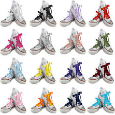 White Coloured Ribbon Shoelaces Laces 4 Lo Hi Top Blinged Crystal Trainers Pumps