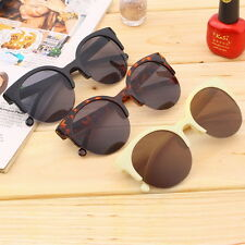 Retro Black Lens Vintage Men Women Round Frame Sunglasses Glasses Eyewear BG