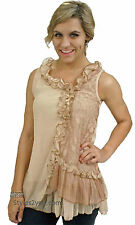 NWT Pretty Angel Clothing Penelope Ruffle Shirt Dress In Brown & Carmel  65583